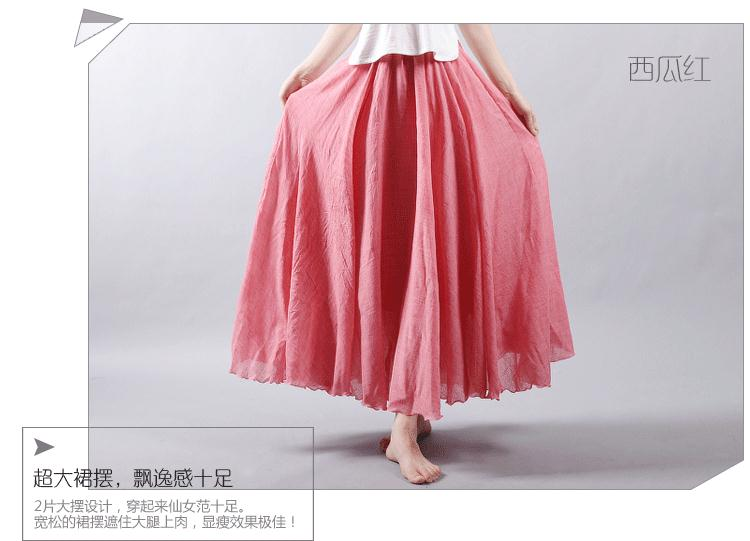 Sherhure 19 Women Linen Cotton Long Skirts Elastic Waist Pleated Maxi Skirts Beach Boho Vintage Summer Skirts Faldas Saia 33