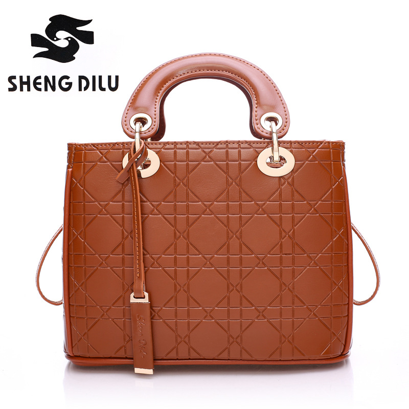 ФОТО ShengDiLu 2017 Luxury Women messenger Bags Vintage female bag Crossbody shoulder Bags Totes Bolsas genuine leather handbags