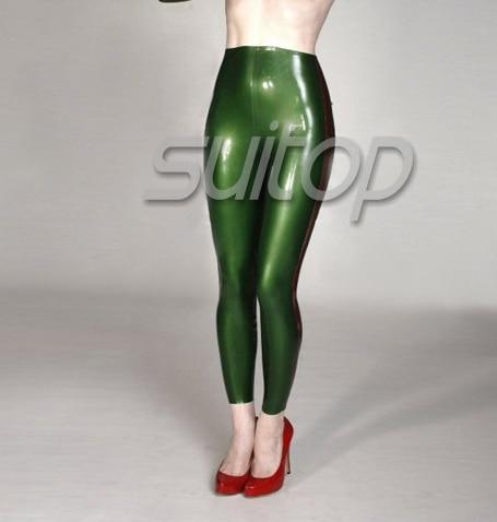 Латексные узкие брюки в зеленый металлик - 2