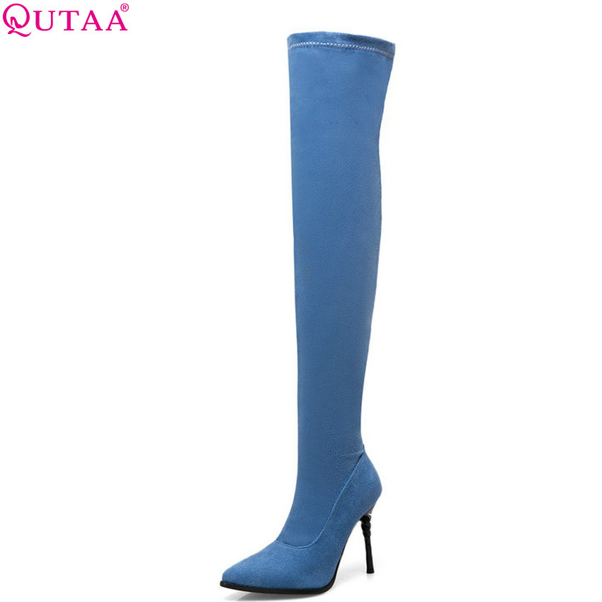 QUTAA 2019 Women Motorcycle Boots All Match Fashion Thin High Heel Sexy Platform Slip on Winter Shoes Woman Boots Big Size 34-43