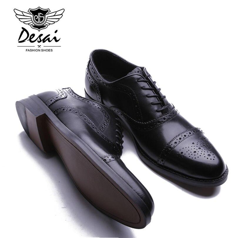 Desai marca masculina de couro genuíno oxfords sapatos masculinos estilo britânico esculpida brogue sapato laço up bullock negócios vestido sapatos apartamentos - 6