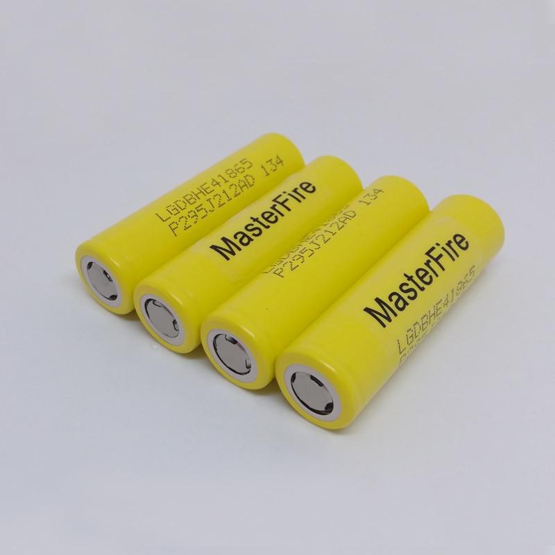 Wholesale MasterFire 100 Original LG LGDBHE41865 2500mAh HE4 Battery 18650 3 7V power electronic batteries 20A discharge in Rechargeable Batteries from Consumer Electronics