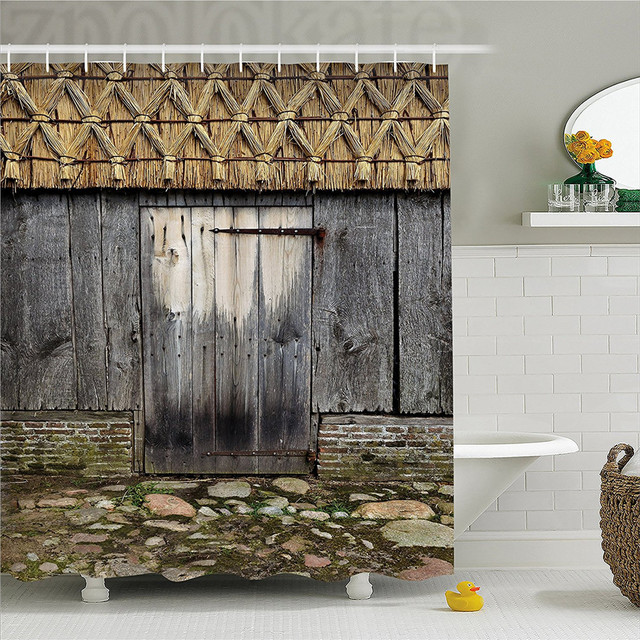 Rustic Decorations Shower Curtain Old Wood Barn Door With Nature Items On Roof Village Town Rural