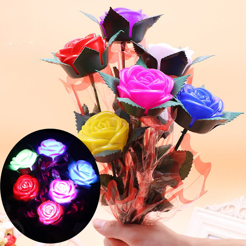 New  Rose Romantic Outdoor Yard Garden Path Way Tulip Bar Landscape Flower Night Lights Decoration Gift Toys Brave Heart Pink