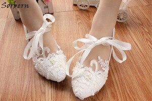 Image 4 - Женские свадебные туфли лодочки на высоком каблуке, с кружевной аппликацией