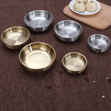 9/12/13.5cm Stainless Steel Seasoning Dish Plate Round Golden Silvery Sauce Ketch Rice Container Kitchen Picnic Use 1piece