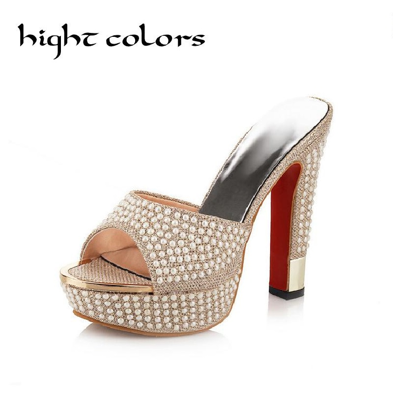 Fashion String Beaded Platform Gold White  High Heels Women Sandals Sexy High-Heels Slippers Big Size Shoes Female Zapatos Mujer padegao 2017 new fashion high heels women sandals sexy decorated with metal chain wear convenient cool slippers shoes women shoe