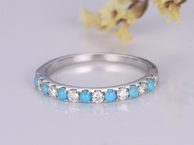 2mm Round Cut Natural Diamond Turquoise Stones Half