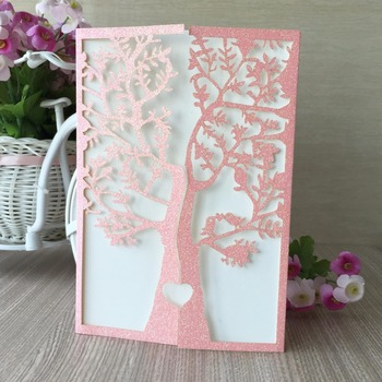 50pcs New Shining Paper Luxury Glitter Pink Wedding Party Invitation card with love Bird Tree wedding favors Decoration supplier
