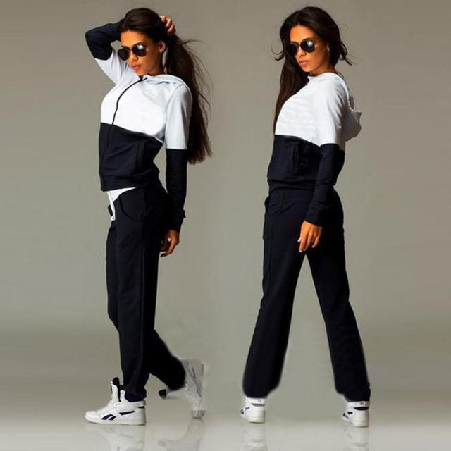 Mulheres 2 Peças Set Terno Conjunto Agasalho Plus Size senhora duas peças set de manga comprida 3 Cores Patchwork terno