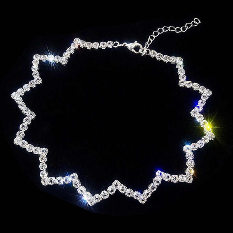 Hot Sale Fashion Letter W Wave Shape White Crystal Chain Choker Statement Necklace for Women Torques Jewelry Collares Collier