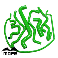 Original Logo 8PCS Silicone Heater Radiator Hose Kit Green For Saab 9 5 1999 To 2001