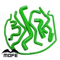 Original Logo 8PCS Silicone Heater Radiator Hose Kit Green For Saab 9 5 1999 To 2001