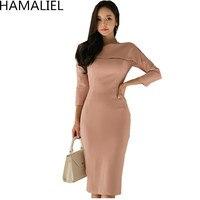HAMALIEL Korean Style Women Slim OL Dress 2017 Autumn Pink Sheath Three Quarter Sleeve One Shoulder