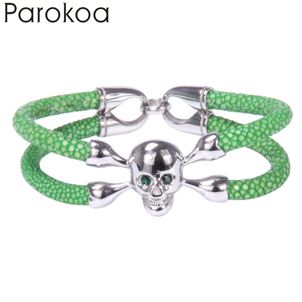 2015 New Handmade Fashion Stainless Steel Skull Luxury Stingray Leather Bracelet