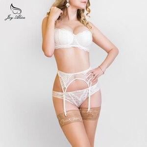 Image 2 - Biustonosz + majtki + podwiązka 2019 New Arrival bielizna zestaw biustonosz i krótkie zestawy zestaw pasków bielizna szelki koronkowy biustonosz zestaw majtki damskie