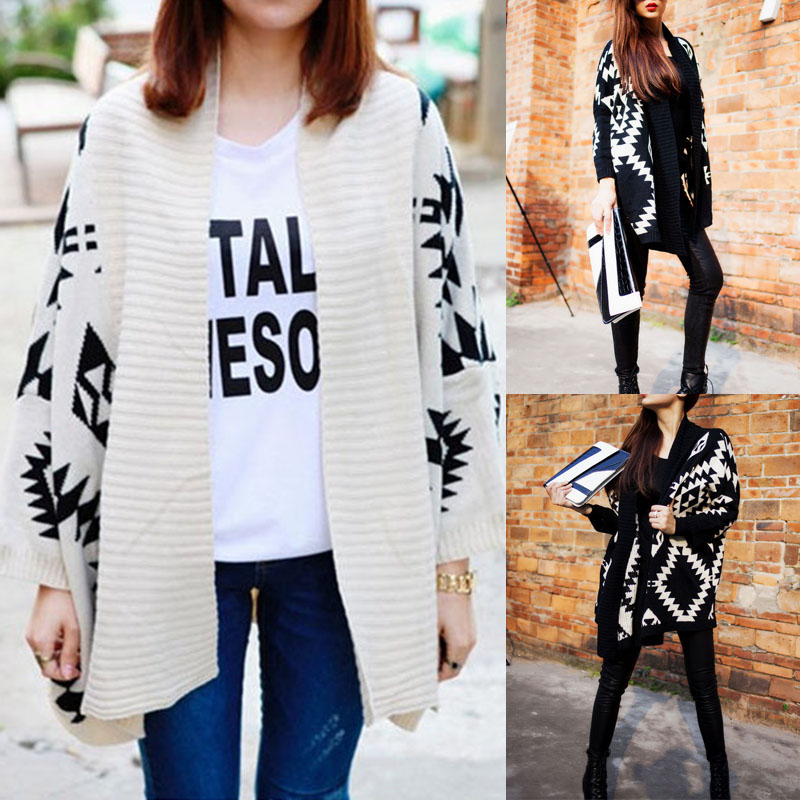 BBYES Fashion Womens Loose Printed Sweater Long Sleeve Knitted Outwear Cardigan Autumn Winter New Design Geometric Pattern Top