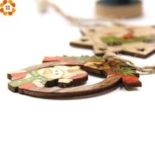 10 pcs Christmas Wooden Pendants Santa Claus & Snowman DIY Ornaments