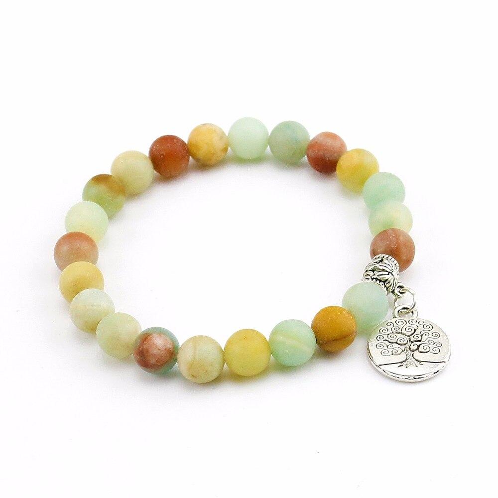 Nature 8MM Matte Amazon Stone Bracelet Mens Beads Charm Bracelet Tree Life Bracelet for Mens Stretch Rope Braclets