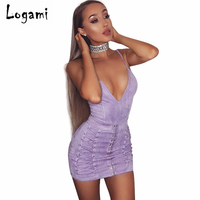 LOGAMI Sleeveless V Neck Suede High Waist Dress Women Spring Summer Sexy Dress 3 Colour Solid