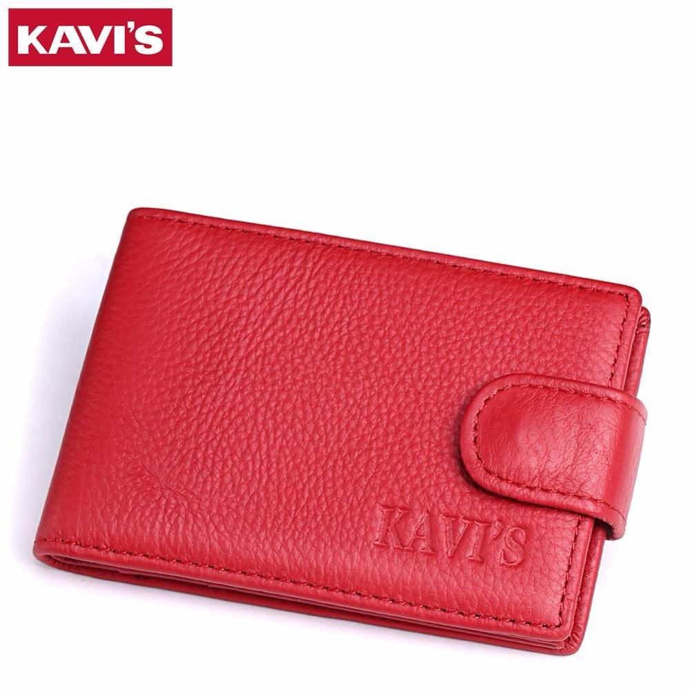 KAVIS Genuine Cowhide Leather Men Women Card Holder Wallets Purse Fashion Brand Big Capacity Men Card Holder Wallets