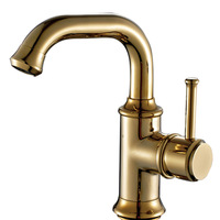 Gold Antique Kitchen Faucets Brass Electroplate Bathroom Faucet Swivel Single Handle Single Hole Mixer Taps Hot
