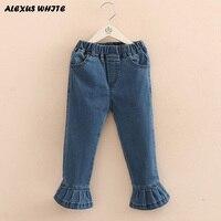 Bebek Flare Jeans Külotlu 2018 Ilkbahar Sonbahar Yeni Kız Çocuk giyim Elastik Bel Kot Pantolon Uzun Pantolon Kız Jean