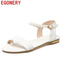 Egonery New Sandals String Bead Woman Casual Shoes For Summer Flat Open Toe Buckle Strap Sandals