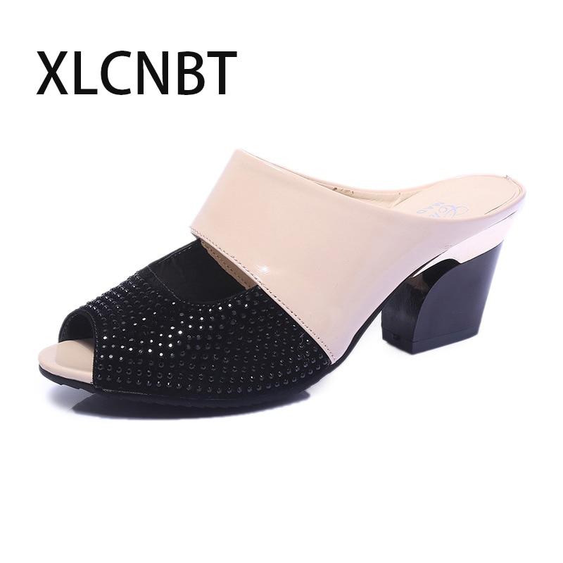 Открытый носок тапочки сексуальный высокий каблук женские шлепанцы на танкетке летние outsite дышащие женские туфли модные классические