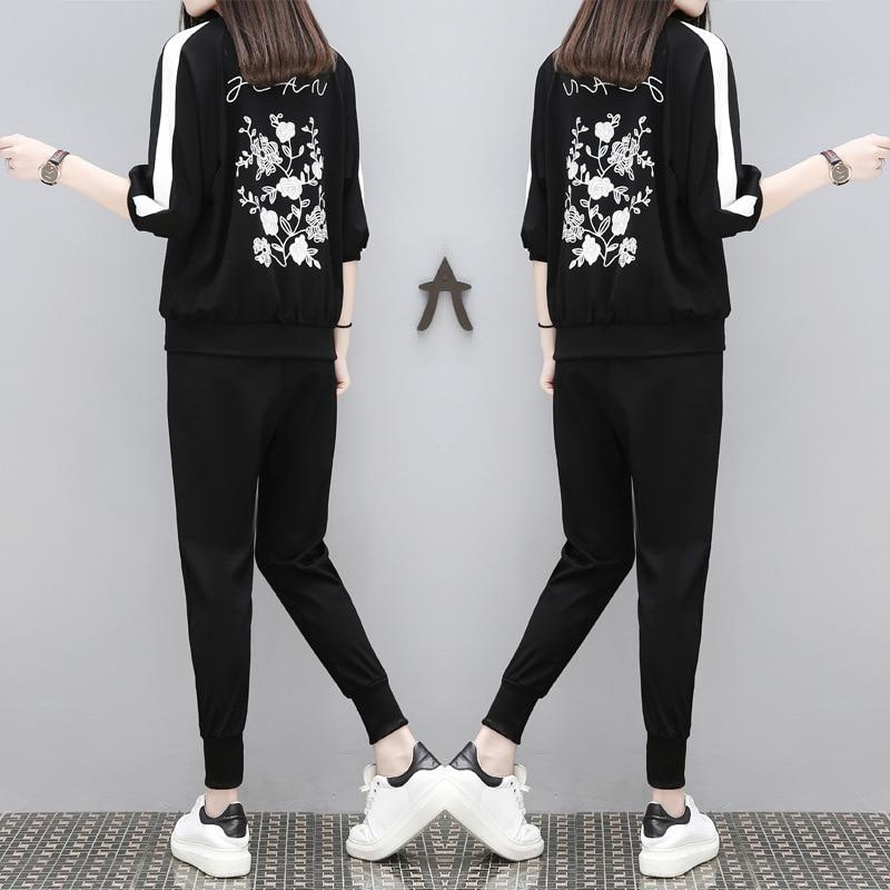 bf31c202c88c Спортивный костюм для Для женщин спортивный костюм женский Корейская версия  работает Одежда спортивный топ из двух частей Для женщин костюм купить на  ...