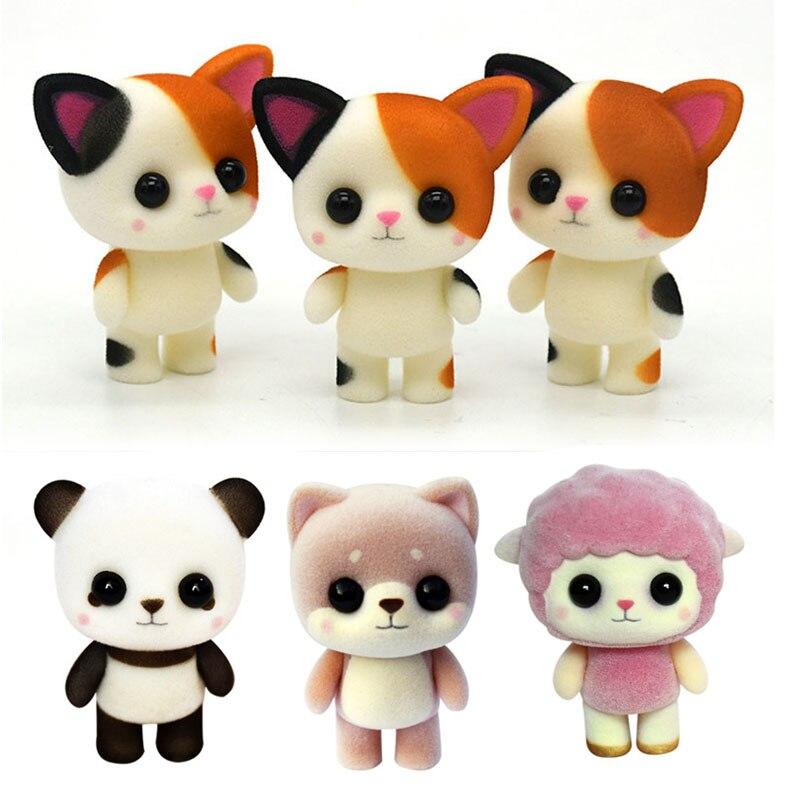 Cute Cat Creative Auspicious Gift Plush Doll Plastic Flocking Toy Meng Pet Little Cat Panda Lamb Birthday Gift G0369