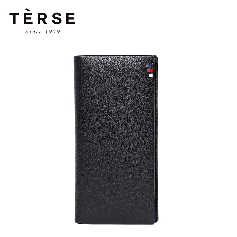 TERSE New Style Men`s Long Wallet Black Color Genuine Leather Large Capacity With More Card Pockets Fashion Men`s Purse DT0726-5