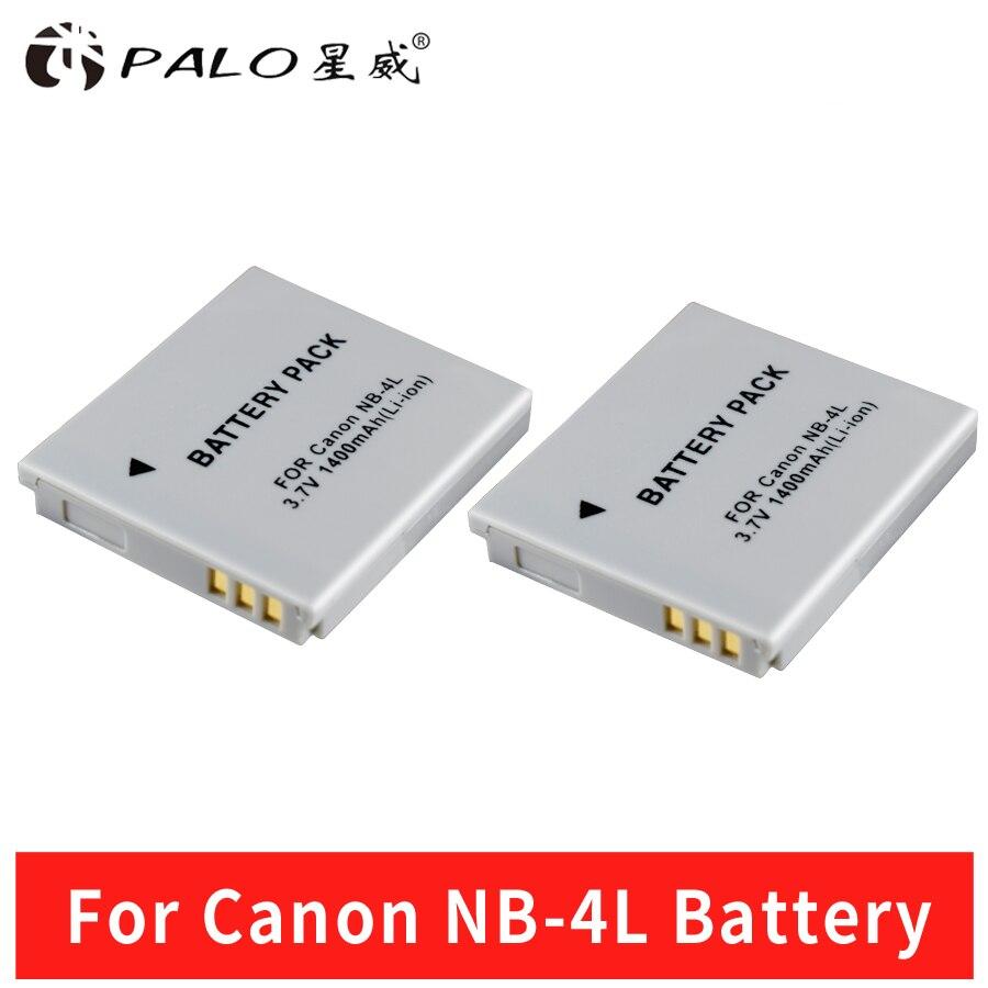 Palo 2 unids 1400 mAh NB-4L NB4L NB 4L Li-Ion de la batería Digital para Canon IXUS 30 40 50 60 80 100 I20 para Canon PowerShot SD1000 1100