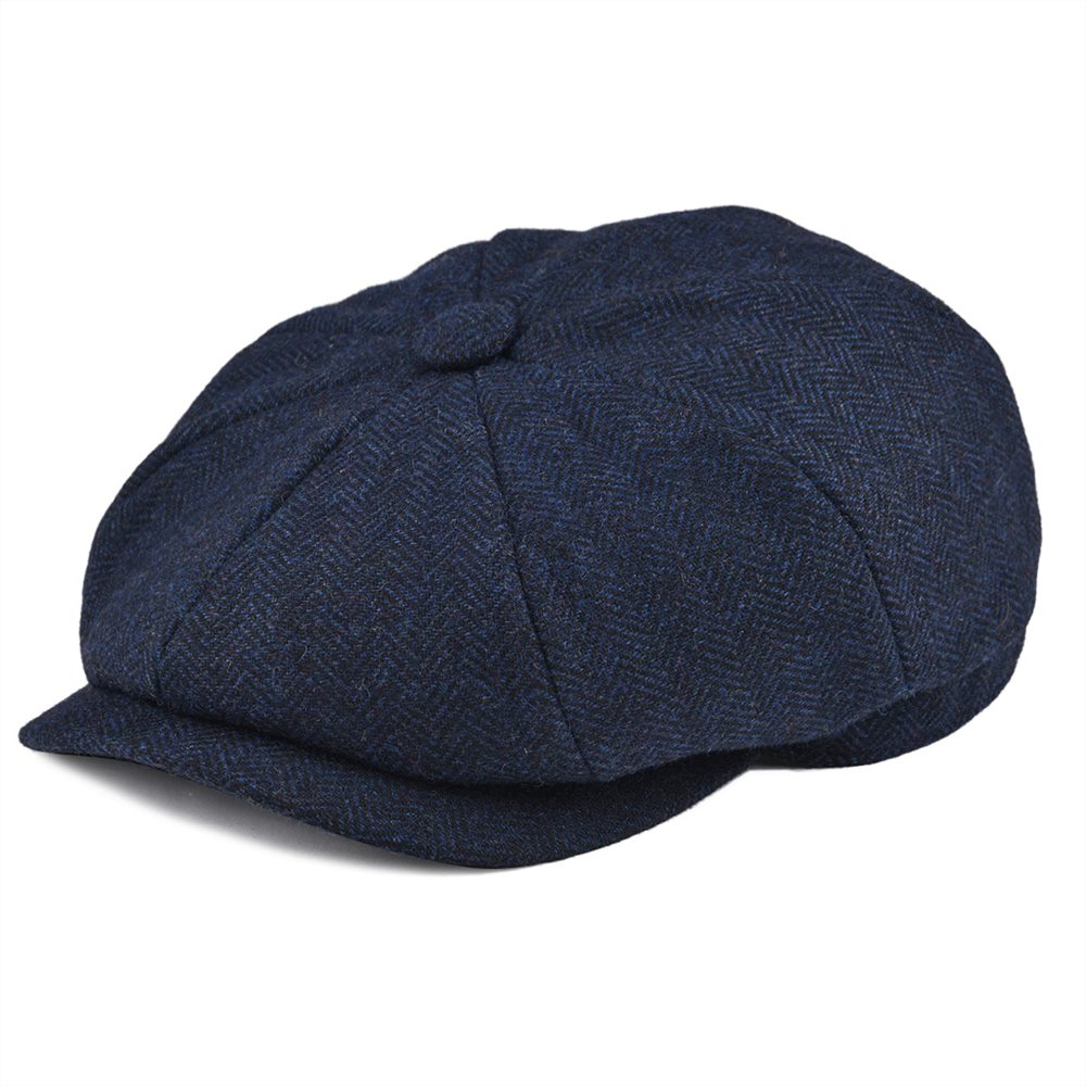 BOTVELA Wool Tweed Navy Blue Herringbone Newsboy Cap Men 8-Quarter Panel Cabbie Flat Caps Women Driver Beret Hat 005