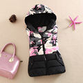 2016 New Autumn and Winter Female Fashion Short Design Camouflage Vest Slim Hooded Vest Waistcoat