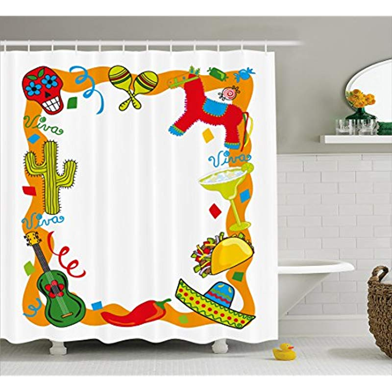 Vixm Fiesta Shower Curtain Cartoon Drawing Style Mexican