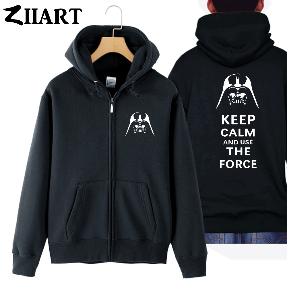 Darth Vader Helmet Star Wars Keep Calm And Use The Force Couple Clothes Boy Man Male Cotton Full Zip Hooded Coats Jackets