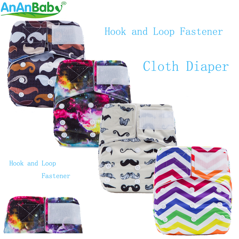 2018 New Reusable Printed Hook And Loop Fastener Cloth Diaper Nappy Cover With Microfiber Insert Modern Cloth Baby Nappies