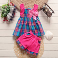 Kids clothes baby girls summer clothing sets kids vest +short pants 2pcs cotton 4 sets/l