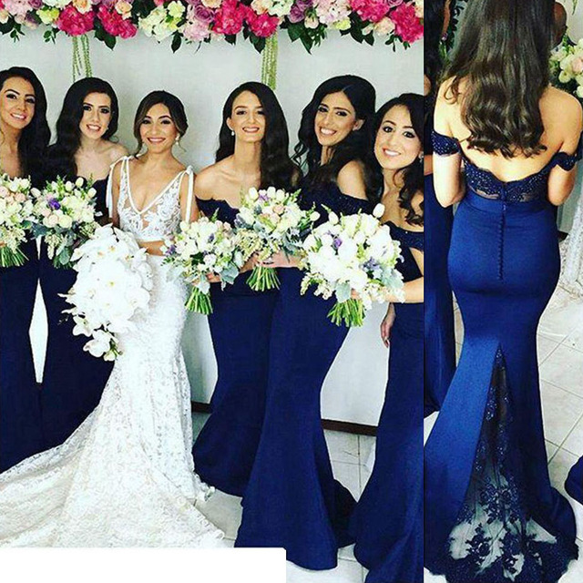 Elegant Blue Off the Shoulder Lace Wedding Party Dress Prom Gown Mermaid  Backless Sweep Train Bridesmaid Dresses 2017 79ef69f526e1