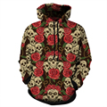 2017 New Fashion Men Hoodies Rose Skull 3D Sweatshirt Pullover Hooded Casual Tracksuit Men Loose Hoody Plus Size S-5XL