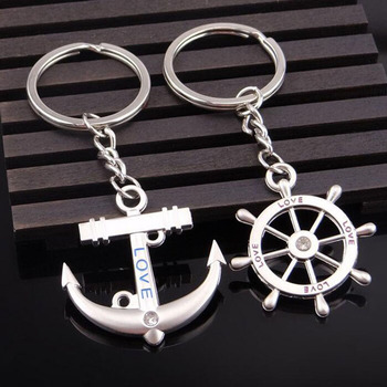 100pairs/lot Zinc Alloy Anchor And Rudder Keychain Metal Keyring Key Holder For Lovers Wedding Gift Favor Party Souvenir ZA3699