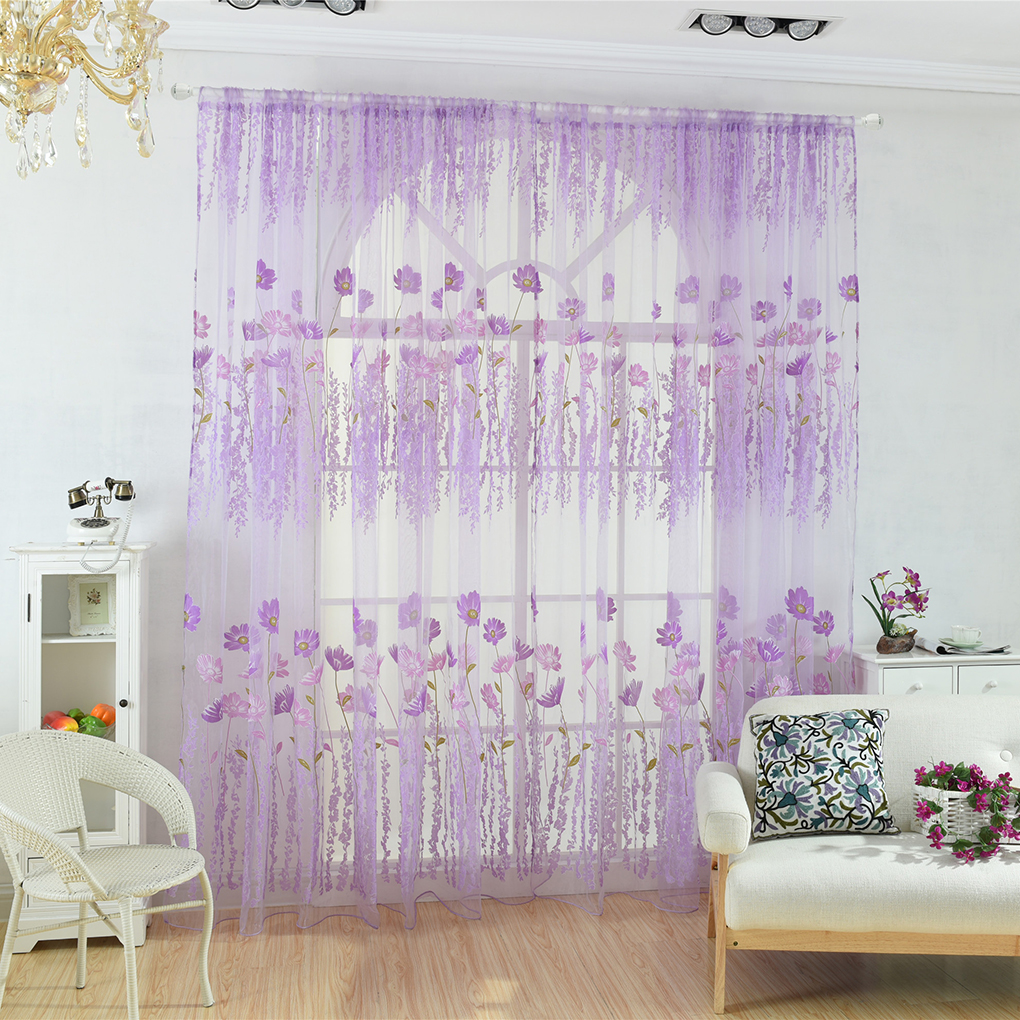 Galsang Flower Print Voile Curtain Translucent Floral Window Room Curtain Panels Room Divider Tulle Drapes