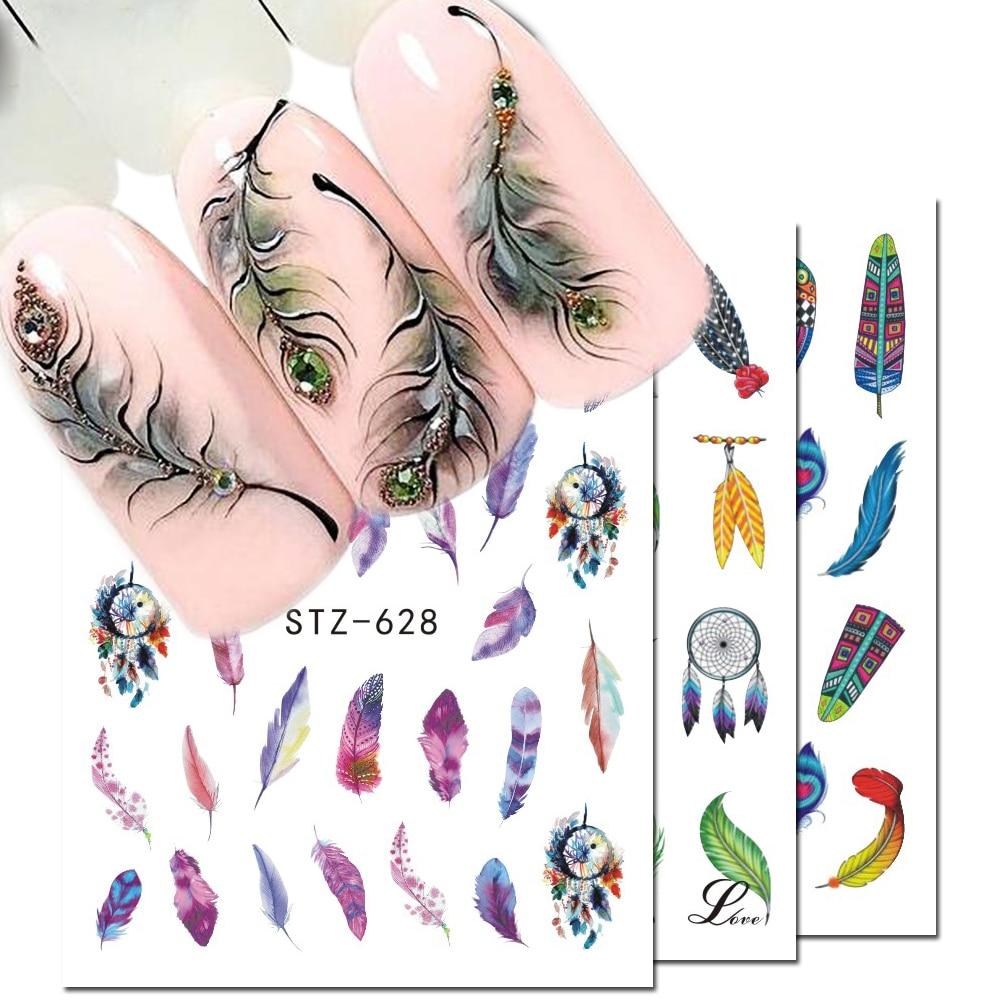 1pcs Decalques de Água Nail Art Etiqueta Dream Catcher Pena Marca D' Água Adesivo Sliders Dicas Wraps Decoração Manicure BESTZ628-644