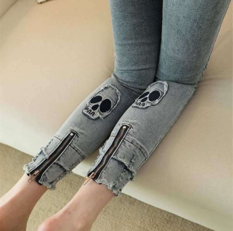 Skull head elastic skinny cotton denim women ripped zipper sexy new jeans woman spring summer denim pencil pants jeans NZ07