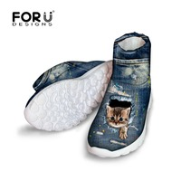 FORUDESIGNS Jeans Style Women Boots Cute Animal Denim Cat Brand Women's Winter Snow Boots Short Warm Boots for Ladies Botas 2018