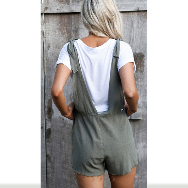 Fashion Women Ladies Loose Overalls Pockets Jumpsuit Sleeveless Strap Rompers Dungaree Oversize Playsuit Causal Trousers Rompers