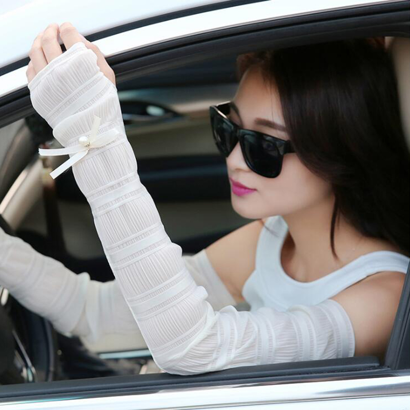 Charm Thin Sun Protection Cooling Arm Sleeves Women Summer Pearl Chiffon Lace Cove Sleeves Cycling Gloves Driving Arm Warmers