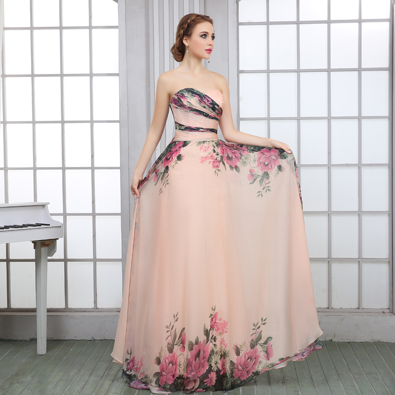 Baratos LanDuoer 2017 Diseño Patrón de Flores de Gasa Vestidos de ...