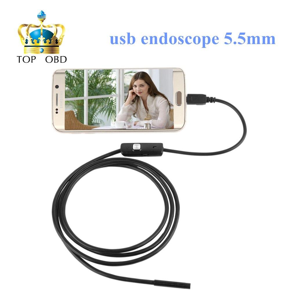 Prix pour 720 P Étanche 6LED IP67 Mini Caméra Endoscope 1 M USB Endoscope 5.5mm Objectif Mini Caméra Miroir pour Android OTG Téléphone Endoscopio